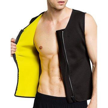 Mens Slimming Vest Shirt Fitness Neoprene Waist Trainer Weight Loss Sweat Sauna Suit Body Shaper Tank Top with Zipper M-2XL
