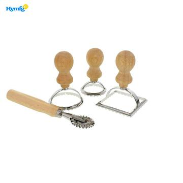 Wood Handle Ravioli Maker Stamp Set
