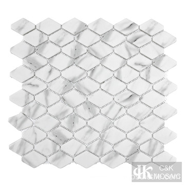 White Marble Look Elongated Hexagon Glass Mosaic