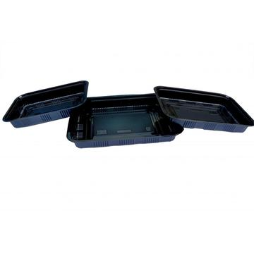 Upscale rectangular black disposable Tray with lid