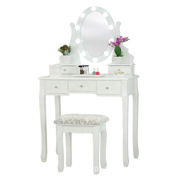 LED Lights White Fineboard Mirrored Dressing Table