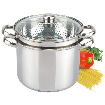 Stainless Steel Pasta Cooker Steamer Pot Set knob