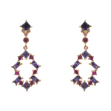 Multicolor CZ Dangle Drop Earrings