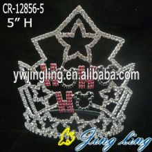 "5"" Wholesale custom rhinestone star pageant crowns cheap"