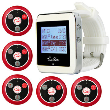 Wireless Pager Restaurant Service Calling System with 5pcs Call Transmitter Button +1pcs Watch Receiver