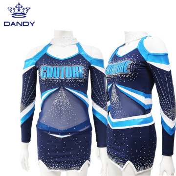 Royal blue metallic cheerleading uniforms