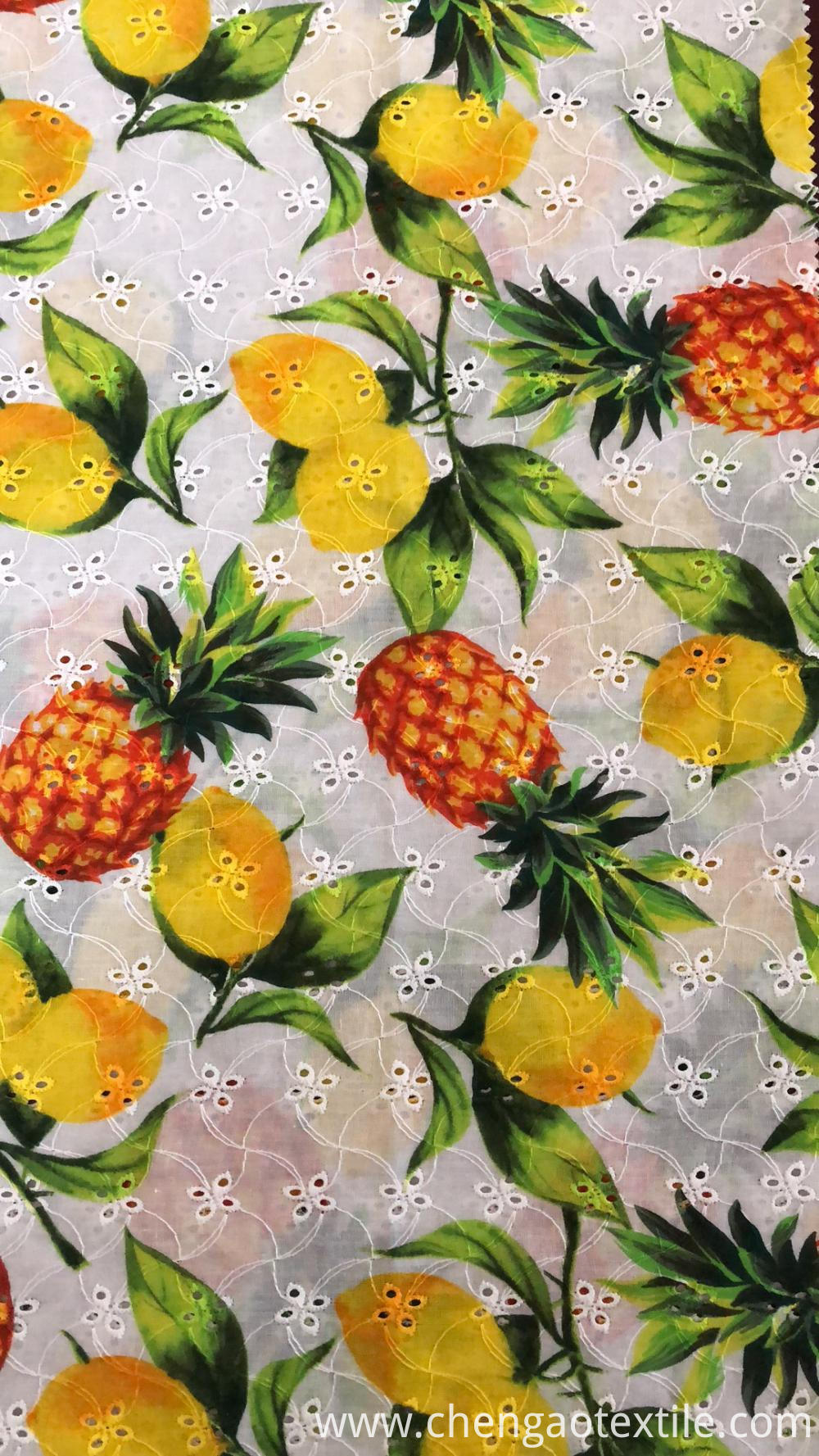 Pineapple and lemon Cotton Embroider Fabric