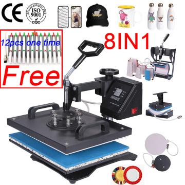Double Display 30*38CM 8 in 1 Combo Heat press Machine 2D Heat Transfer Machine Sublimation Printer For Cap/Mug/Tshirts