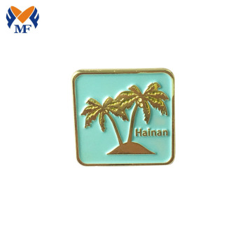Custom Coconut Tree Square Enamel Metal Lapel Pin