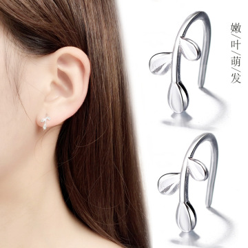 1 Pair Women New Fashion Fresh Olive Leaf Olive Branch Ear Clip Earrings Jewelry