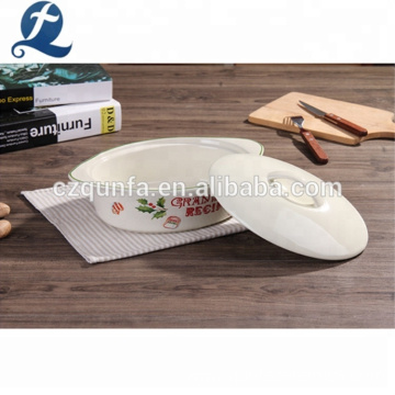 White Ceramic Plate Casserole Baking Pan With Lid
