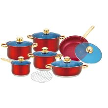 Cookware Set with Red Painted Finish