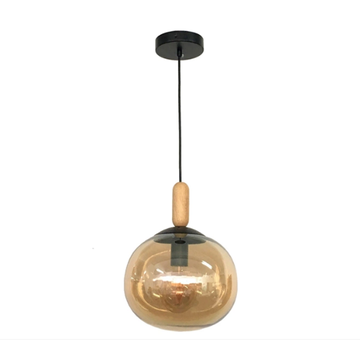 Elegant warm light amber glass single pendant lamp