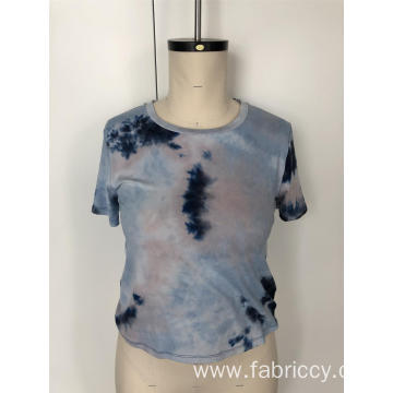 Tie-dye short sleeve blouse