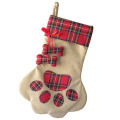 Christmas pet paw pattern stocking