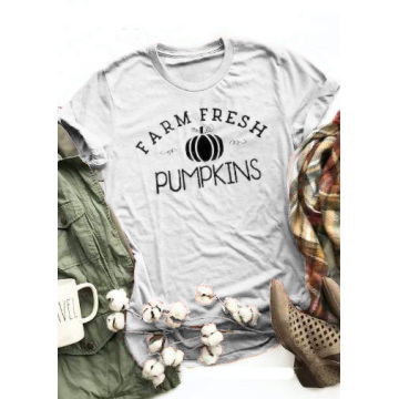 Farm Fresh Pumpkins O-Neck T-Shirt Tee Women funny graphic tshirt summer style short sleeve tops t shirt