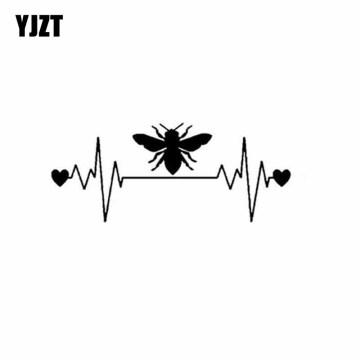 YJZT 13CM*5.4CM Bee Lifeline Heartbeat Vinyl Car Sticker Decal Honey Bee Window Decal Sticker Black/Silver C19-0004