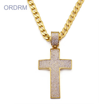 Mens Gold Hip Hop Iced Out Cross Necklace
