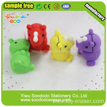 animal rubber rhino shaped eraser for kids toy
