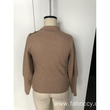 Semi - turtleneck sweater with long sleeves