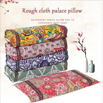 Dual-use palace pillow old coarse cloth pillow pillowcase cotton buckwheat shell pillow adjustable neck pillow Home textile
