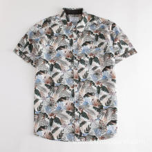 Men's Brown Flowers Pattern Short Sleeve Print Shirt