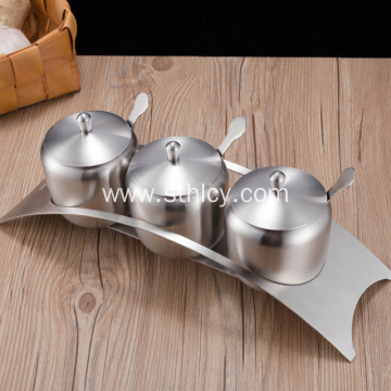 SUS304 Stainless Steel Condiment Pots Set