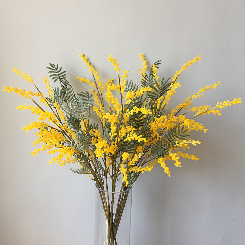 Artificial Acacia Flowers Yellow Mimosa Spray Cherry Fruit Branch Wedding Party Event Decor Home Table Flower