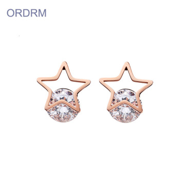 Funky Rose Gold Cubic Zirconia Star Stud Earrings