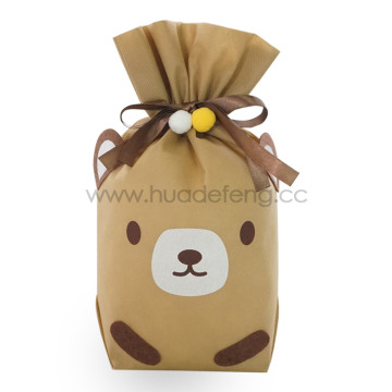 Brown Non-woven Bear Daily Drawstring Gift Wrapping Bag
