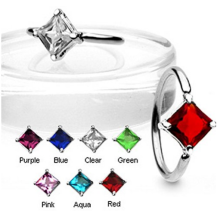 Square CZ Gem CBR Body Piercing Jewelry