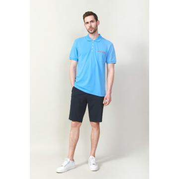 MEN'S KNIT BLUE COLOR PLAIN DYED POLO