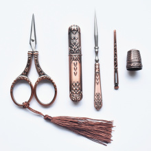 Vintage Antique Craft Scissors Embroidery Sewing Scissors Thimble Needle Case Awl Tailor Scissors Cross Stitch Tool Accessories