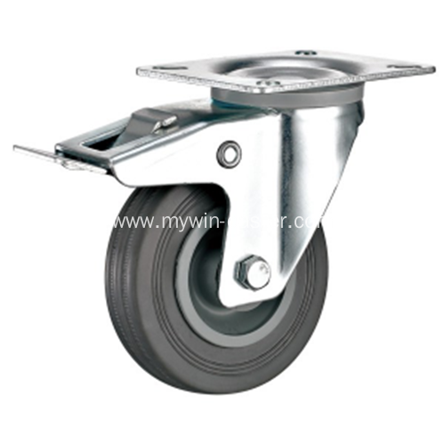 5'' Plate Swivel Gray Rubber PP Core with brake Industrial Caster