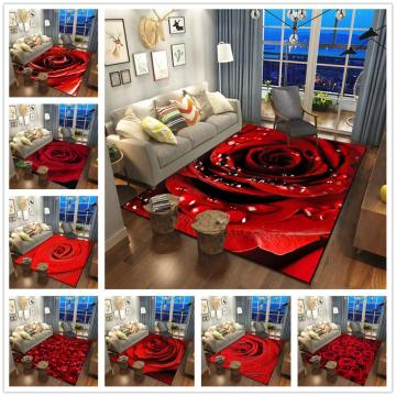 3D Rose Flower Printing Carpets Home Pink Red Wedding Area Rug Valentine's Day Decor Carpet Couple Surprise Gift Floor Mat/Rugs