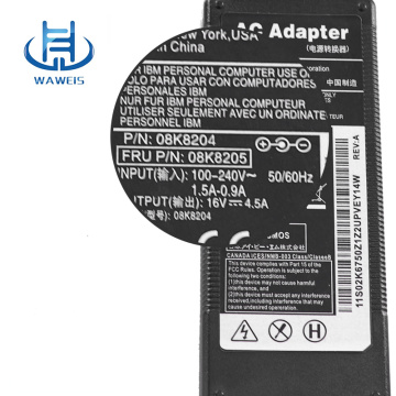 High Efficiency Power Adapter 16V 4.5A for IBM