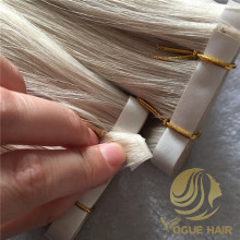 Cool tone #60 invisible pu skin weft hair