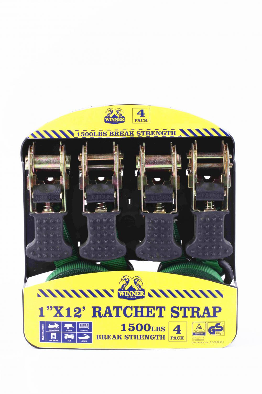 1''X12' 1500lbs Ratched Lashing Belt Kit  4 sets