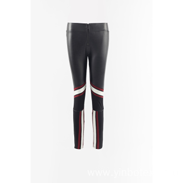 PU combined knit fabric legging pants