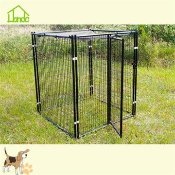 A welded mesh dog cage with tarpaulin