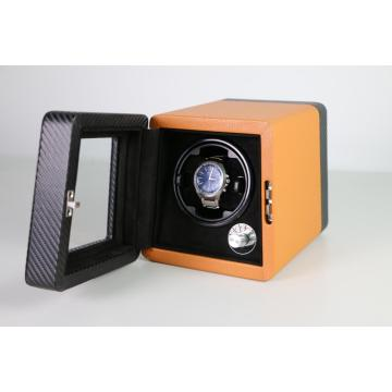 Single Rotor Orange Leather Watch Winder