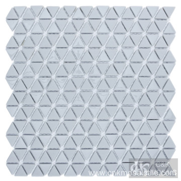 Grey Triangle Glass Mosaic Floor Tile