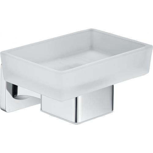 Zinc chrome soap holder with frosted glass