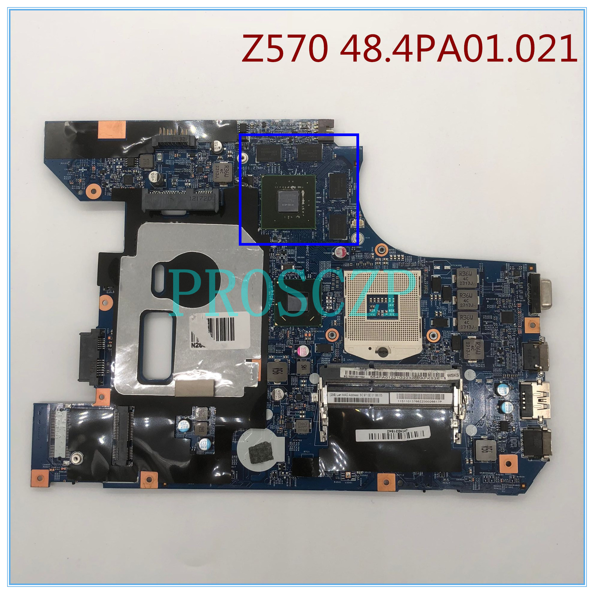 High quality For Z570 Laptop motherboard 48.4PA01.021 GT540M HM65 100% working well
