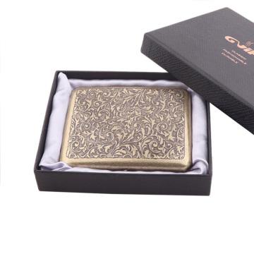 Vintage Metal Brass Cigarette Case with Gift Box Container 20 Pcs Regular Size Cigarettes Tobacco Holder Pocket Box Storage