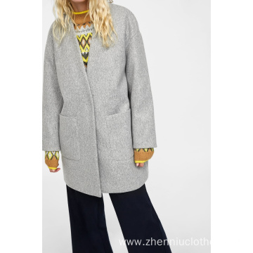 2020 OEM Ladies Winter Fashion Fake Wool Coat