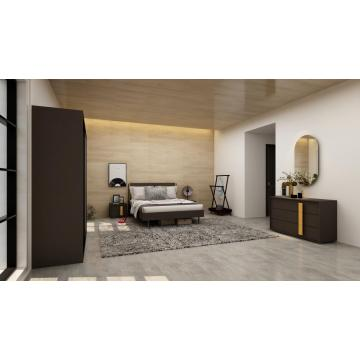Madilim na Grey na Modern Bedroom Set na may Sliding Wadrobe