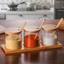 Wholesale glass seasoning bottle kitchen supplies seasoning jar glass seasoning box set with wooden spoon Storage Jars