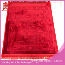 3D Luxury mink Velvet Islamic Prayer Rug-Red