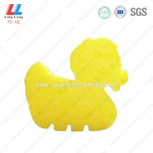 Yellow duck shape bath sponge